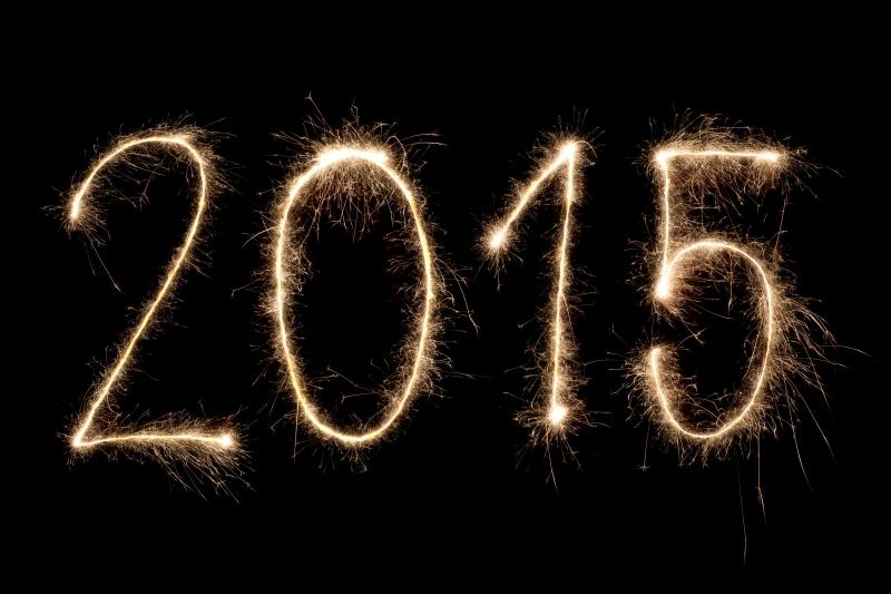 2015 skrivet med fyverkerier